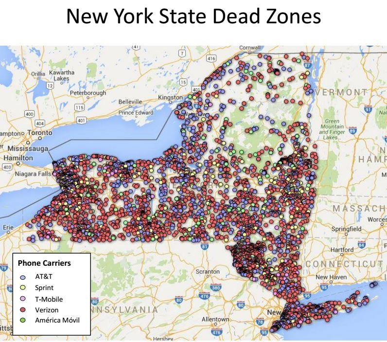 Schumer Too Many Dead Zones In Cell Coverage In Upstate NY - Upstate new york map