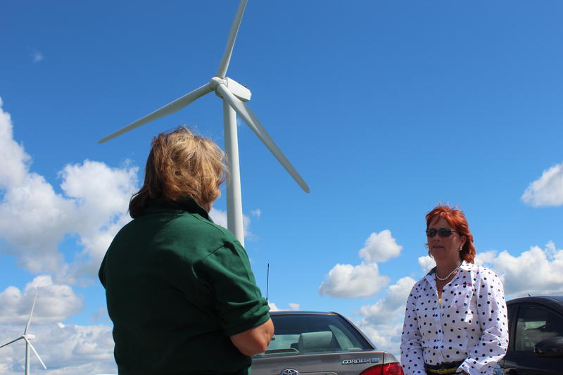 Democratic congressional candidate Kim Myers at the Fenner Wind Farm in Madison County