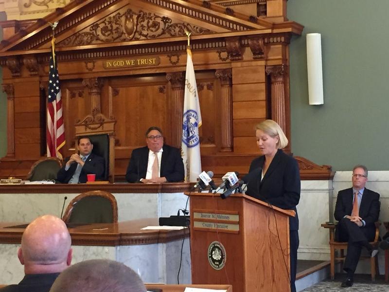 Onondaga County Executive Joanie Mahoney addressing the county legislature.