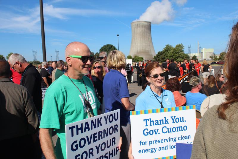 Supporters of Gov. Andrew Cuomo's Clean Energy Standard rallied outside the FitzPatrick Nuclear Power Plant in August. The subsidies under the clean energy plan could save nuclear plants like FitzPatrick from closing.