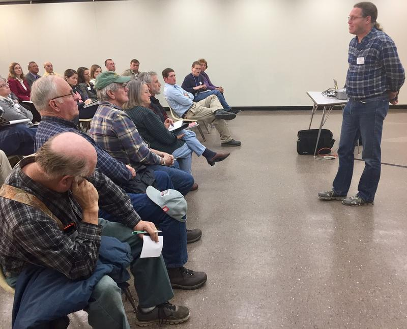 Farmers met with a hydrologist from Cornell University to learn more about groundwater recharge