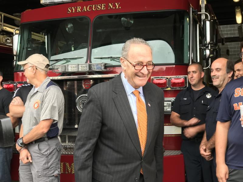Sen. Charles Schumer at a Syracuse fire station Wednesday.