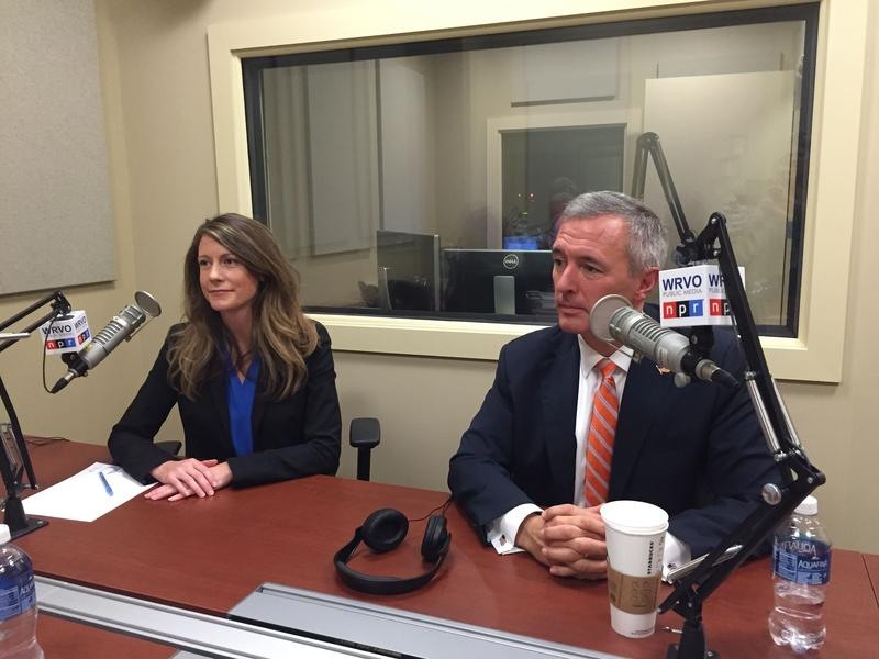 Democrat Colleen Deacon, left, and incumbent Rep. John Katko (R-Camillus) at the WRVO studios in Syracuse for their first debate in the race for New York's 24th Congressional District