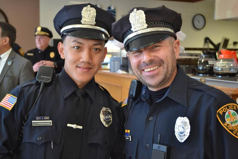 Utica Police Department Patrolmen Jimmy Dongsavanh and Maynard Ankens are members of the city's new community outreach team, which is tasked with fostering relationships with area business and organization leaders.