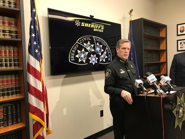 Onondaga County Sheriff Gene Conway talks to the media Tuesday, after an undecover deputy was shot at Monday night.