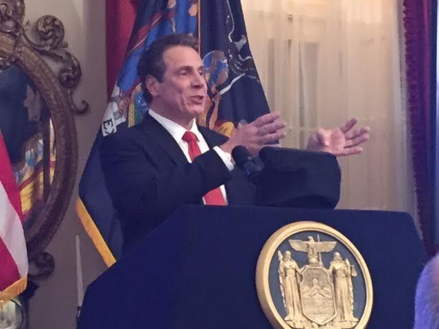 Gov. Andrew Cuomo briefing the press on his 2017 budget plan Tuesday night.