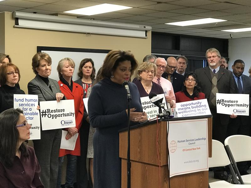 Assemblywoman Pamela Hunter (D-Syracuse) speaking a news conference this week calling on the governor to include more funding for groups that work with the disabled