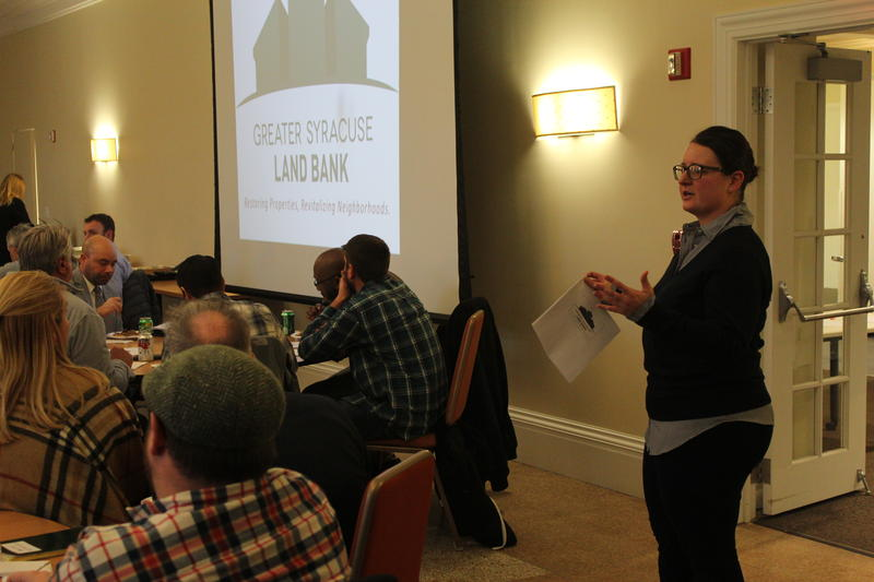 Syracuse Land Bank Executive Director Katelyn Wright at the land bank's annual meeting in January.