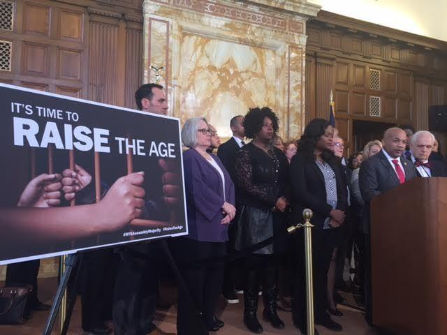 "Assembly Speaker Carl Heastie (D-Bronx) speaks about the ""Raise the Age"" proposal at the state Capitol Tuesday."