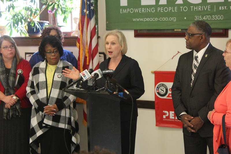 Sen. Kirsten Gillibrand (D-NY) speaking at an event at the Frank DeFrancisco Eastwood Community Center in Syracuse last week.