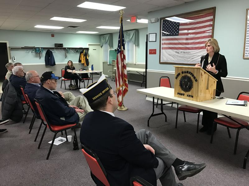 Rep. Claudia Tenney (R-New Hartford) talks to veterans in New Hartford about the lessons she learned while visitng American forces in Iraq and Afghanistan.