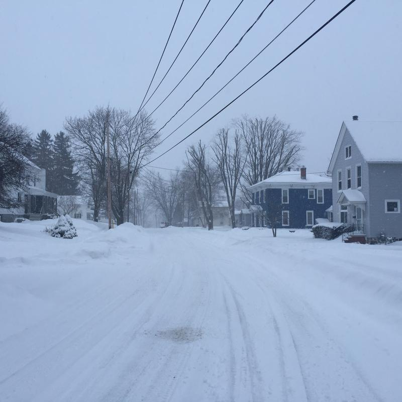 More than a foot of snow fell in the Jefferson County village of Adams Tuesday