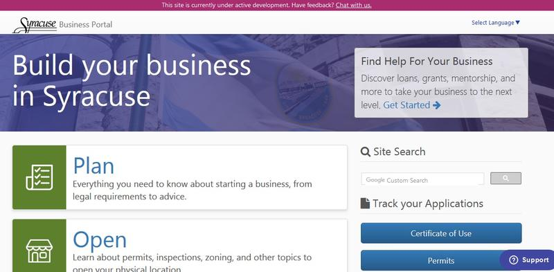 The website for Syracuse's business portal.