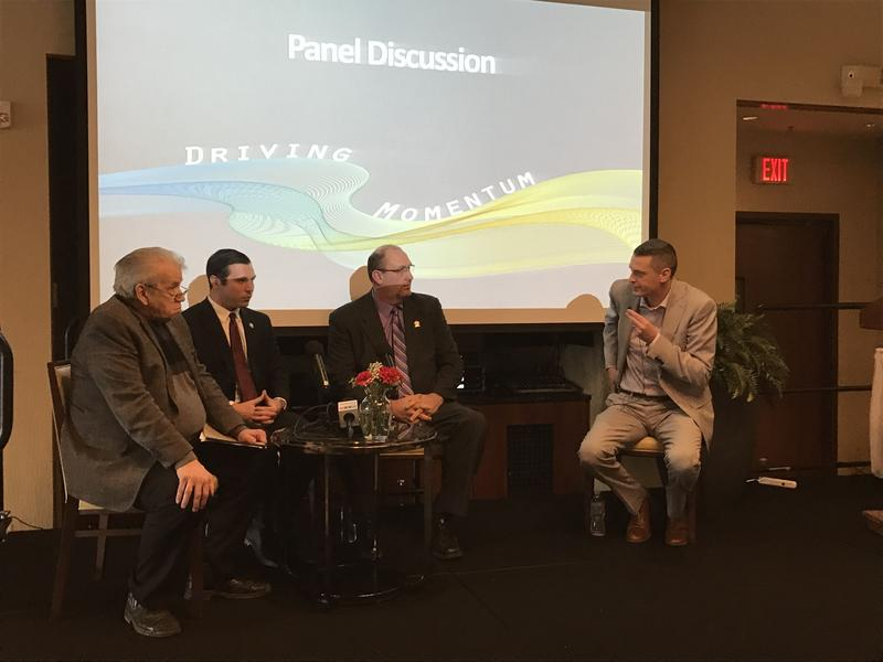 Fulton Mayor Ron Woodward, left, Oswego Mayor Billy Barlow, Oswego County Legislature Chairman Kevin Gardner and CenterState CEO President Rob Simpson discuss the area economy at the Oswego-Fulton Chamber of Commerce's annual meeting.