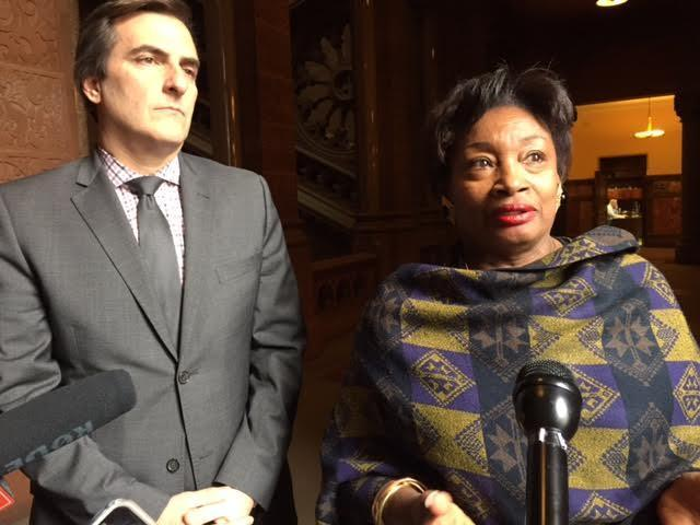 Senate Democratic Leader Andrea Stewart-Cousins and Deputy Minority Leader Michael Gianaris outside the Senate chamber Wednesday.