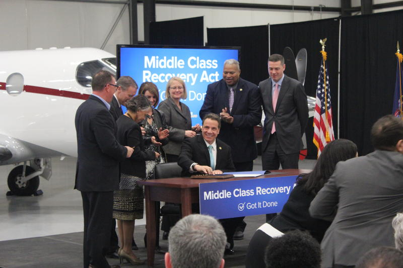 Gov. Andrew Cuomo at the Signature TechnicAir Hangar in Syracuse on Wednesday.