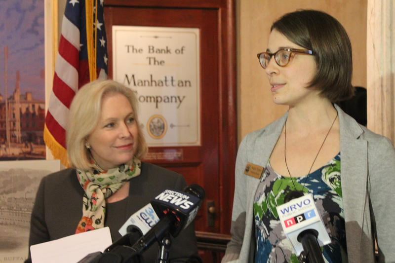 Sen. Kirsten Gillibrand with Erie Canal Museum Executive Director Natalie Stetson.