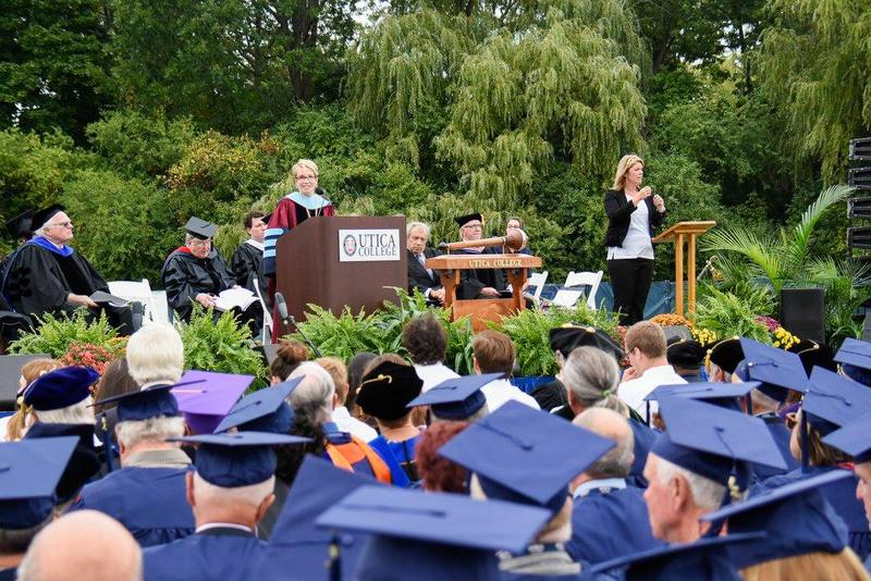 Utica College President Laura Casamento addresses the school's graduates during a 2016 spring commencement. Casamento has overseen a tuition reset at Utica College, which lowered rates by 42 percent.