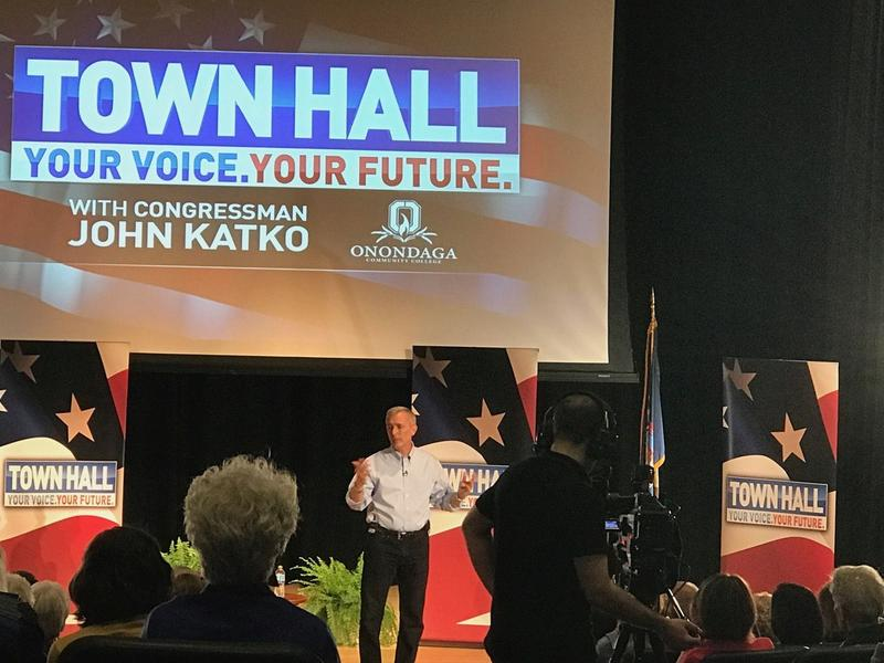 Rep. John Katko (R-Camillus) at Monday evening's town hall, televised on Syracuse TV stations NBC3/CBS5.
