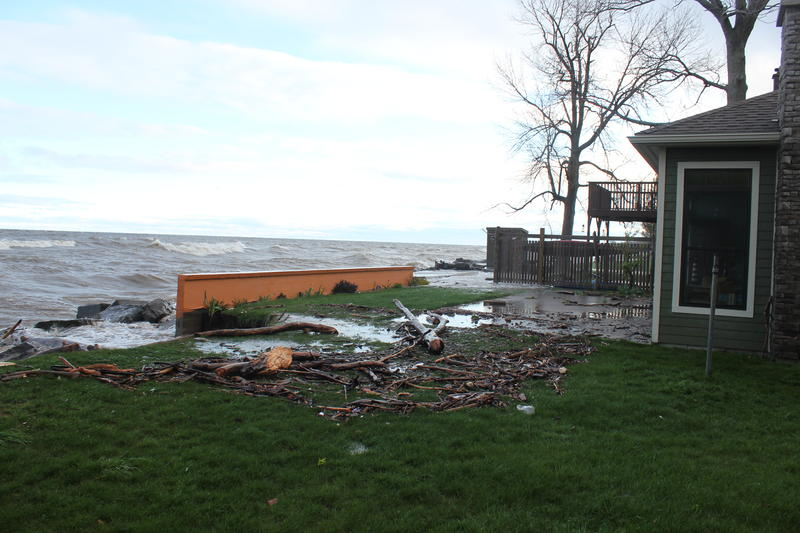 Oswego resident John Miller's break wall before storms combined with high Lake Ontario water levels to crumble it.