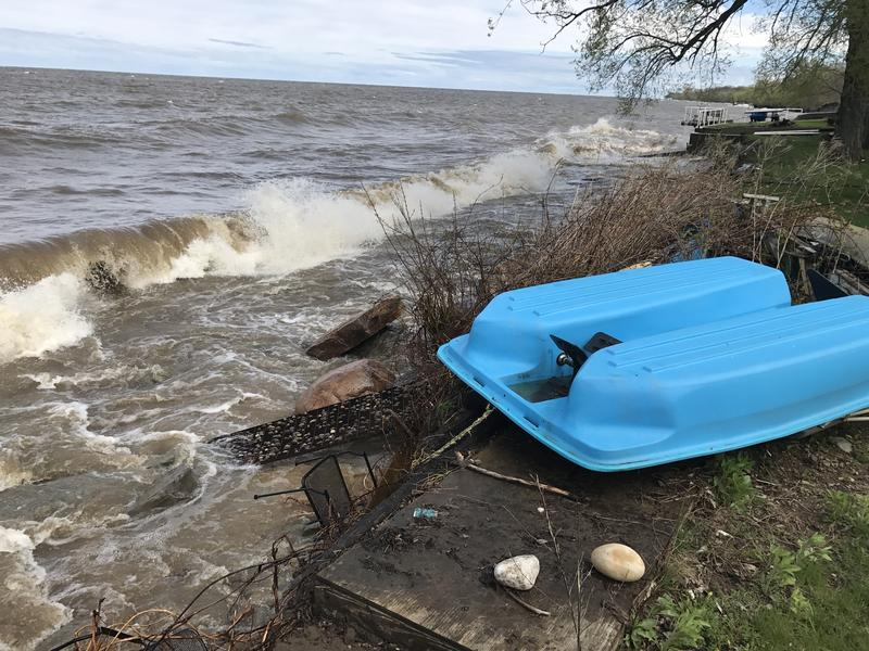 Lake Ontario is eroding the coastline in Oswego, washing away this resident's deck.