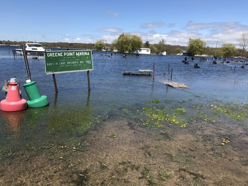 Flooding in Lake Ontario this year displaced homeowners and closed businesses, like Greene Point Marina in Sandy Pond.