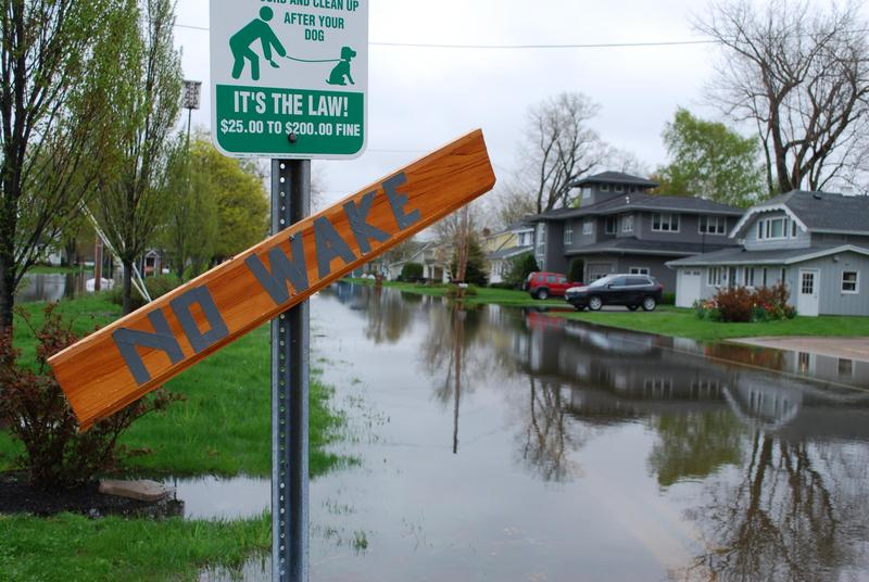 "A homemade ""No Wake"" sign on Greig Street in Sodus Point, New York."