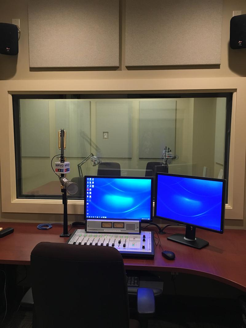 Our control room (looking into the talk studio) at our downtown Syracuse satellite studio.