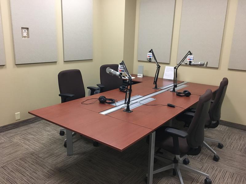 Our talk studio at the SUNY Oswego Metro Center, in the Atrium building, downtown Syracuse.