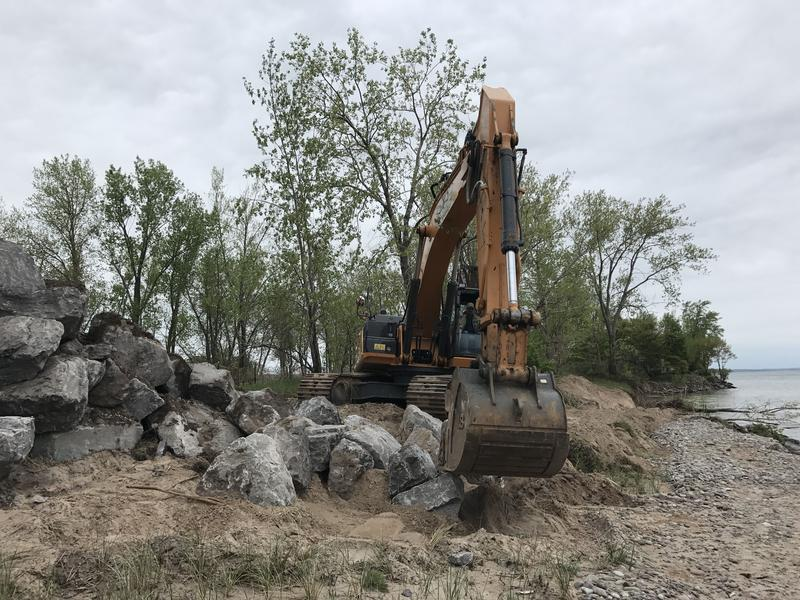 The New York State Office of Parks is working to stabilize the Sandy Island Beach State Park sand dune, which is eroding from the historic water levels in Lake Ontario.