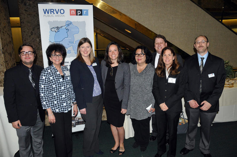 Some members of the WRVO staff. From left to right: Payne Horning, Lorraine Rapp, Catherine Loper, Leah Landry, Linda Lowen, Bill Drake, Pam Cantine and Jeff Windsor.