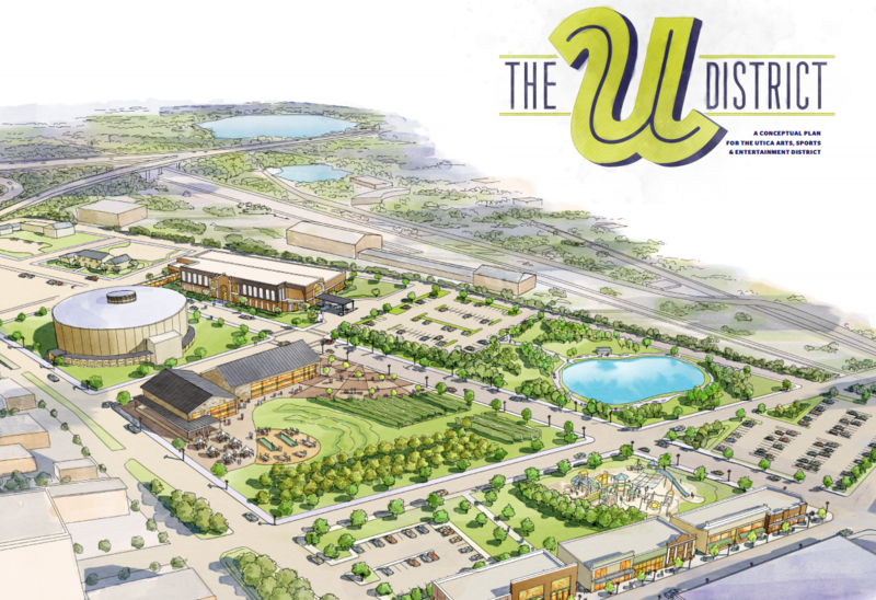 Oneida County officials are trying to build an arts, sports and entertainment district in downtown Utica. The so-called U District would include a casino, craft-beer museum and sports complex that could be used for tournament and recreational events.
