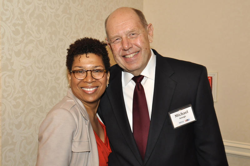 NPR's Michele Martin with former general manager Michael S. Ameigh in Syracuse in 2012.