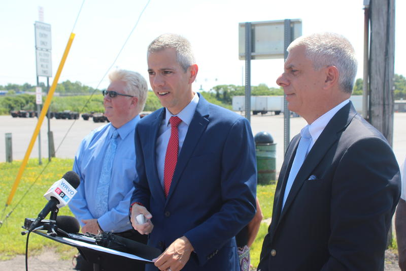 Assemblyman Anthony Brindisi (center) at Thruway Exit 31 in Utica.