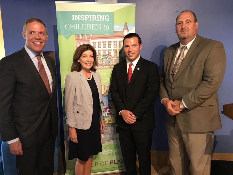 At the Oswego Children's Museum, Lt. Gov. Kathy Hochul joined Oswego officials to unveil which projects the state will fund as part of the $10 million campaign to transform the city's downtown.
