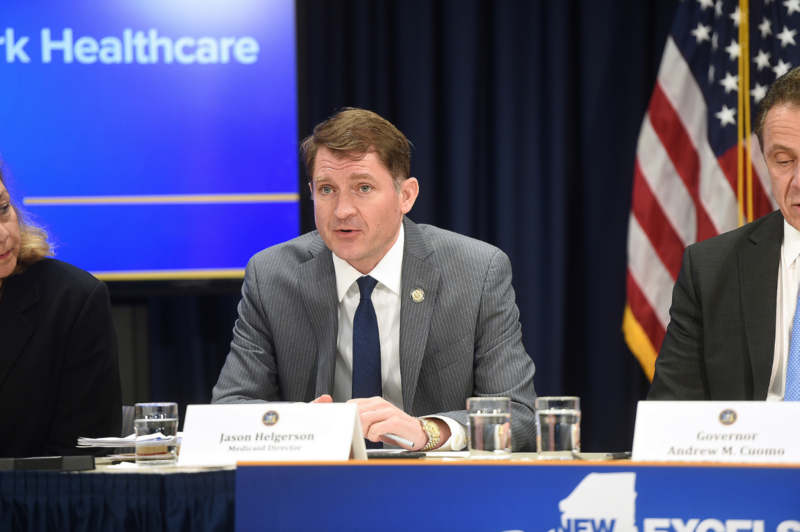 Jason Helgerson speaking during a press conference in March, 2017, in which Gov. Andrew Cuomo called for New Yorkers to join the fight for affordable healthcare in the state.