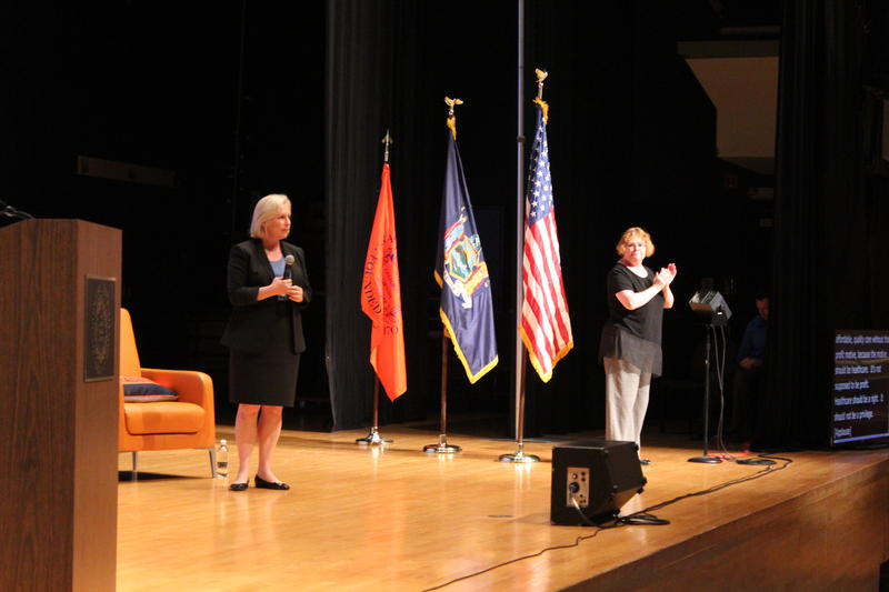 Sen. Kirsten Gillibrand at a town hall held at Syracuse University.