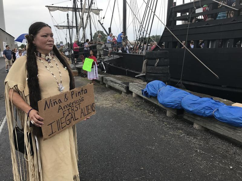 Renee Roman Ose, a descendent of the Oklahoma Cheyenne, came to the Oswego Harbor Saturday to protest the two Christopher Columbus ships and educate people on about the genocide and terror it brought to the original inhabitants of the Americas.
