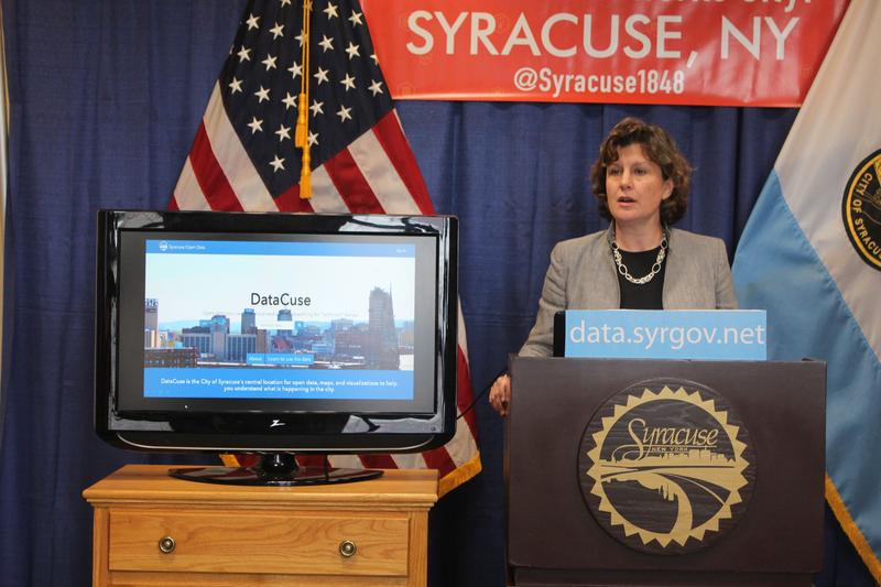 "Syracuse Mayor Stephanie Miner unveiling ""DataCuse"" Wednesday."