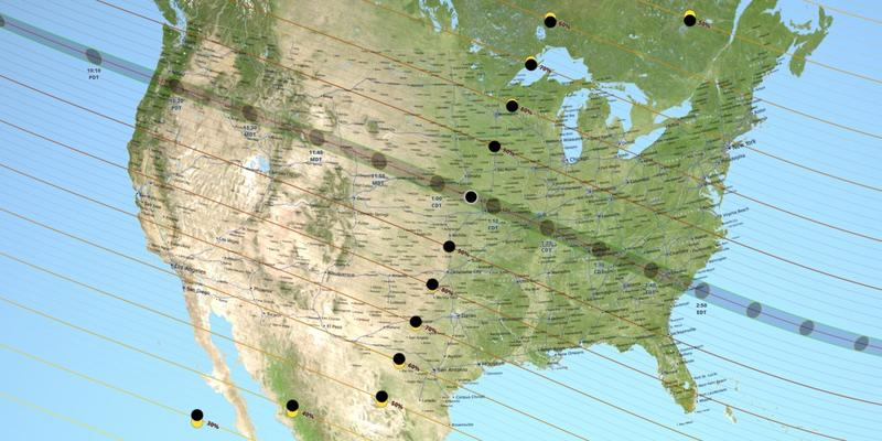The path of totality for Monday's eclipse spans from the Pacific Northwest through the Midwest to the Southeast. Central NY will see about 70% coverage of the sun