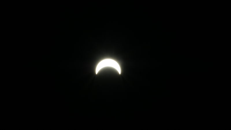 A view of what Monday's solar eclipse looked like during its peak in Oswego, New York
