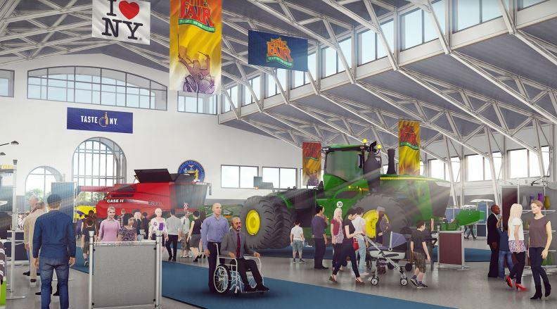 An artist rendering of a new expo center planned for the New York State Fair
