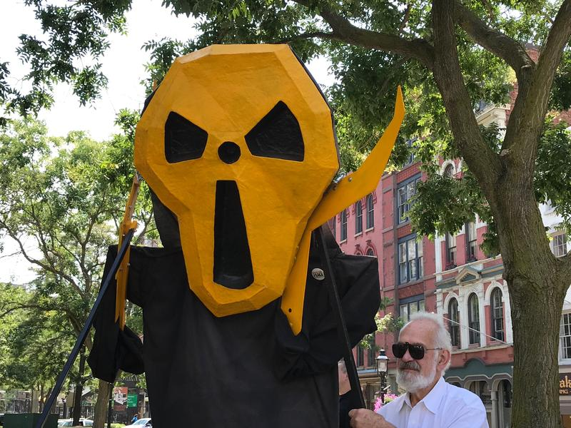 Anti-nuclear activists in downtown Syracuse.