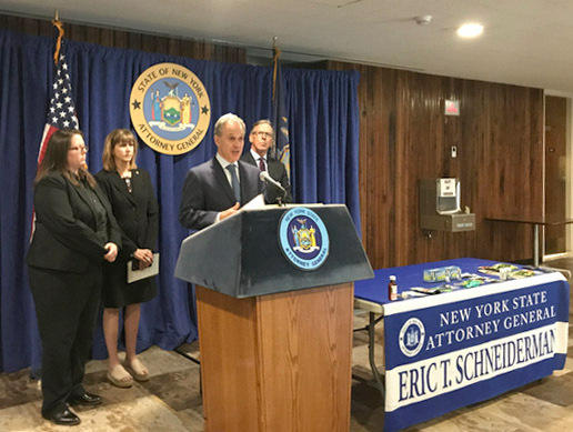 New York Attorney General Eric Schneiderman announcing a crackdown on sales of 'designer drugs' in Watertown Tuesday