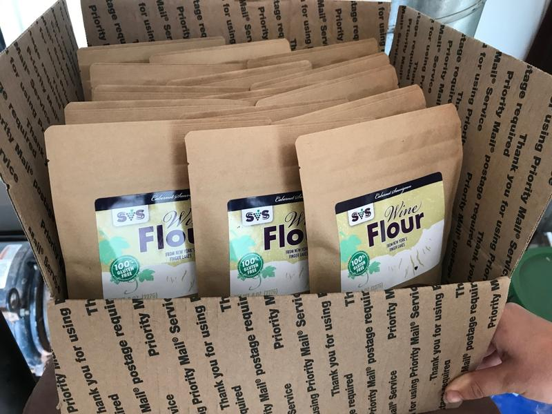 A case of wine flour ready for shipping