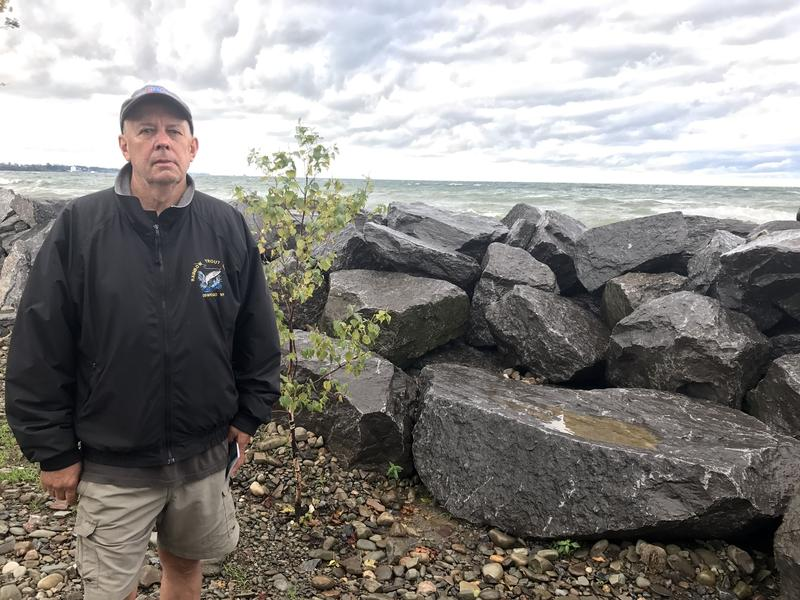 The riprap rocks that now act as a barrier between Oswego resident Rich Bowman's house and Lake Ontario were paid for with state aid. Many in New York hope to get federal funding to help residents recover from this year's flooding along the shoreline.