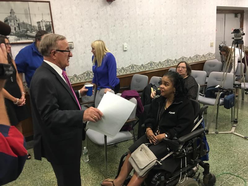 State Sen. John DeFrancisco meets with supporters of his universal visitability legislation.