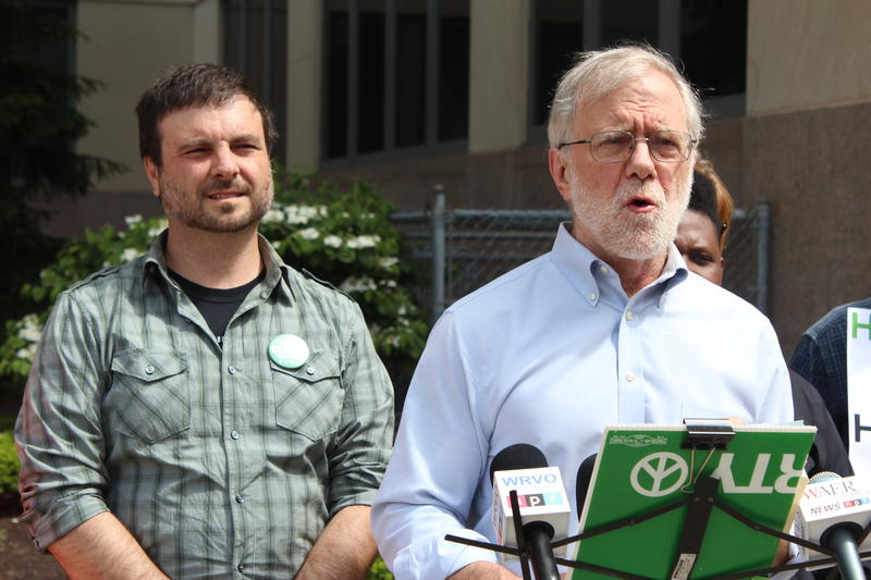 Green Party members Howie Hawkins (right) and Frank Cetera earlier this year.