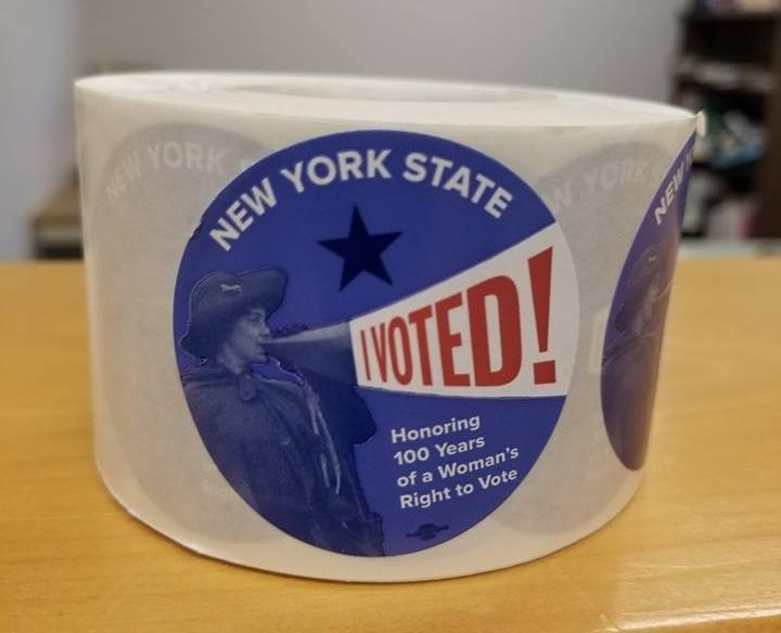 "Polling sites in Onondaga County will be handing out ""I Voted"" stickers celebrating 100 years of Women's suffrage."