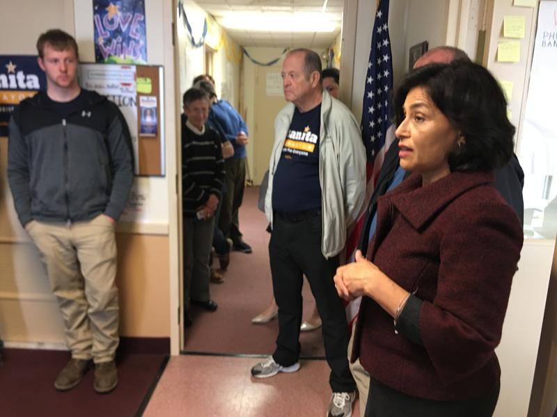 Juanita Perez Williams at campaign headquarters.